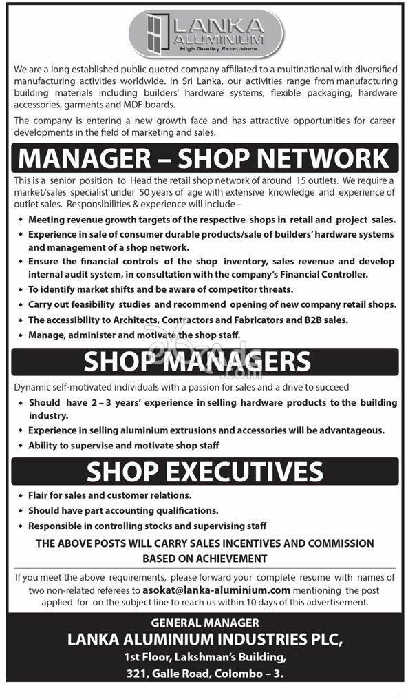 Manager, Shop Executive Vacancies at Lanka Aluminium
