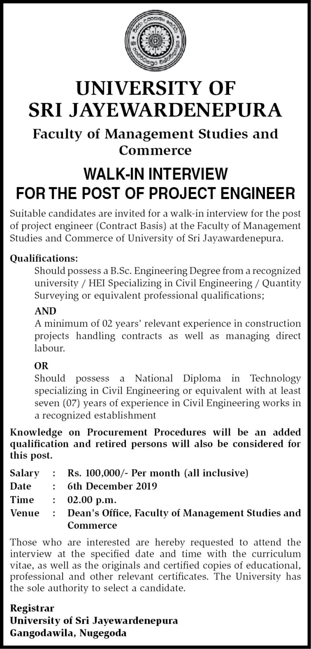 Project Engineer - University of Sri Jayawardanapura