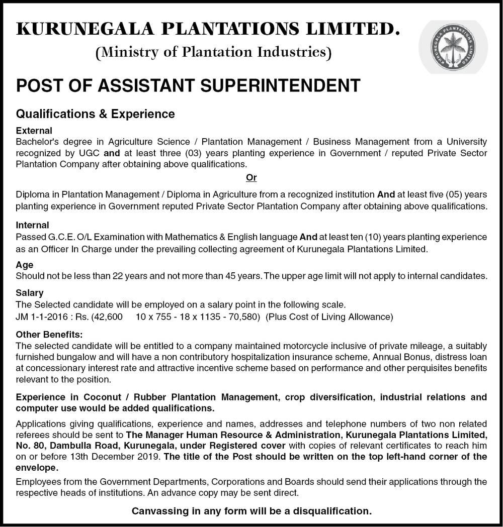 Assistant Superintendent - Kurunegala Plantations Ltd