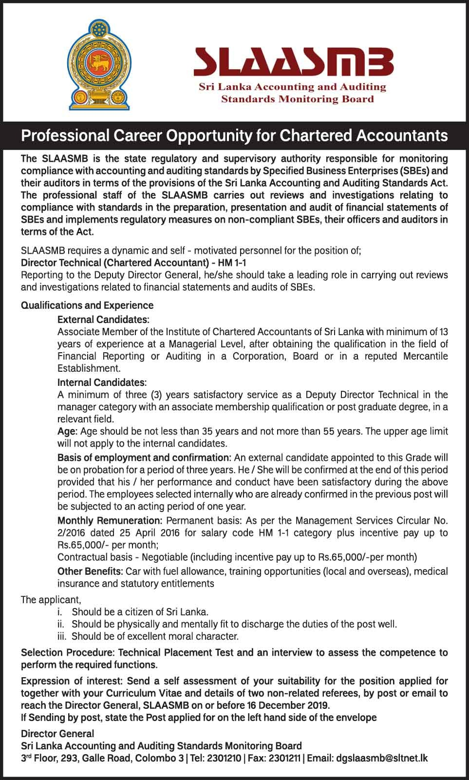 Director Technical - Sri Lanka Accounting and Auditing Standards Monitoring Board