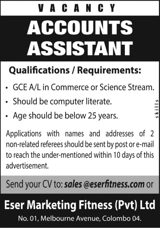 Accounts Assistant - Eser Marketing Fitness (Pvt) Ltd