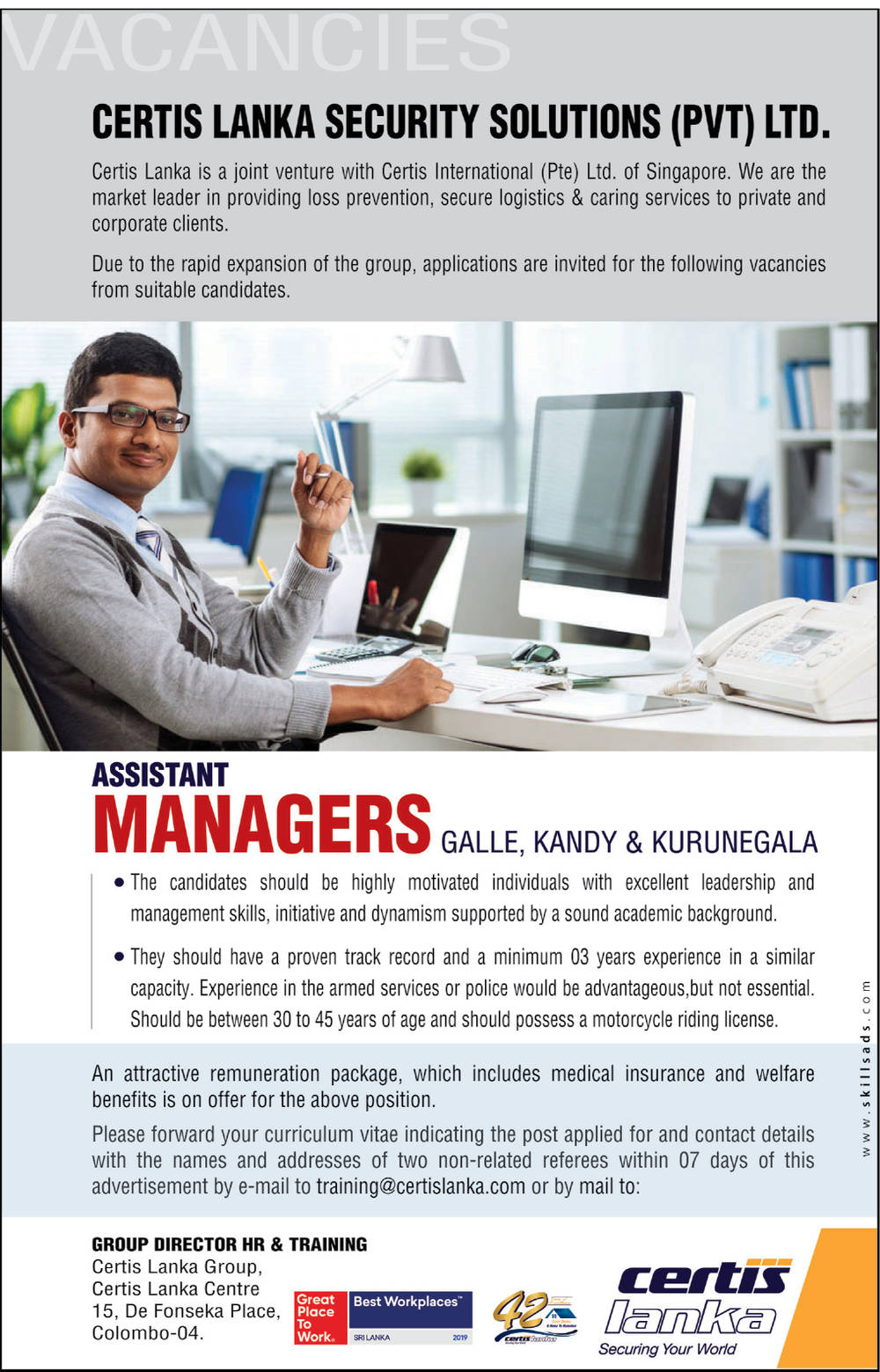 Assistant Managers - Certis Lanka Security Solutions (Pvt) Ltd