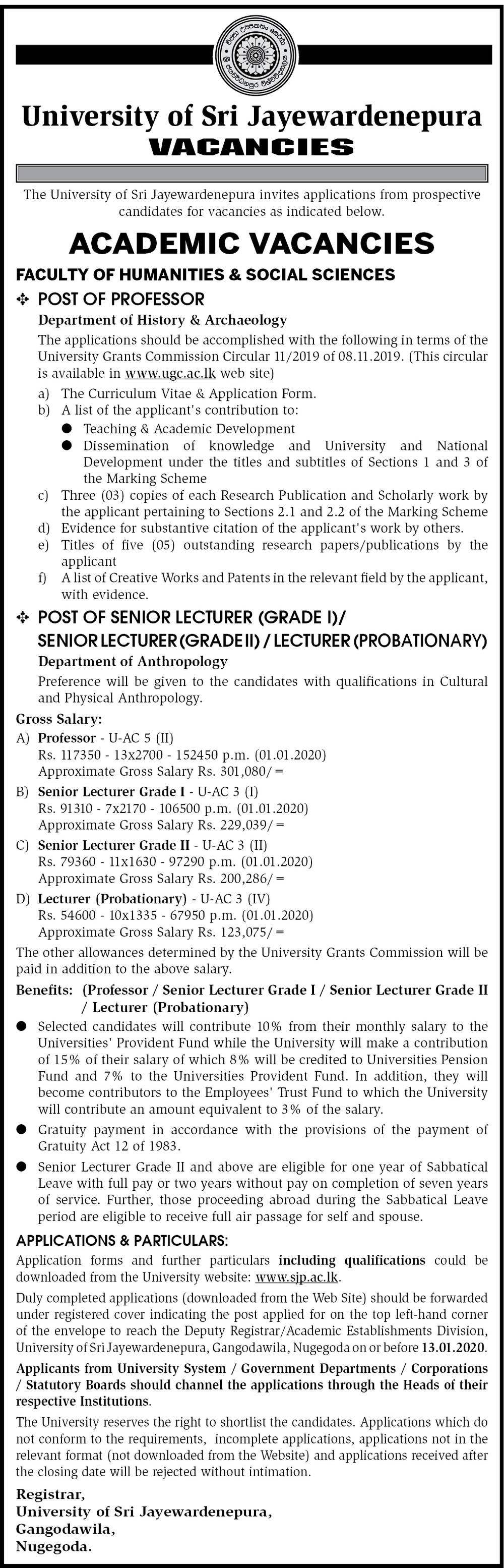 Professor , Senior Lecturer, Lecturer - University of Sri Jayawardhanapura
