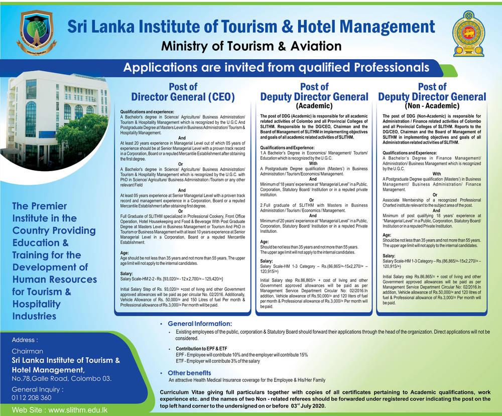 Director General Deputy Director General Sri Lanka Institute Of Tourism Hotel Management Colombo 03