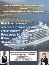 Steward - luxury Cruise Ship