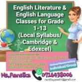 English Literature and English Language Classes(Local syllabus/Cambridge/Edexcel)- Online/Homevisiting